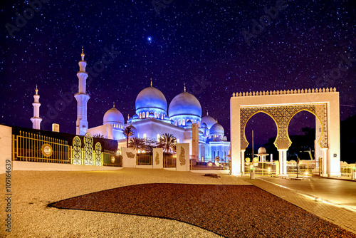 Canvas Prints Abu Dhabi Sheikh Zayed Grand Mosque in Abu Dhabi, UAE at night