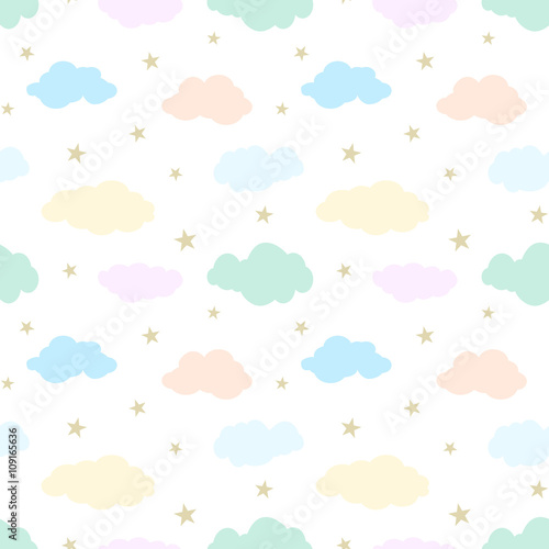 Seamless vector pattern with  cute clouds and stars Wallpaper Mural