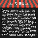White hand lettering set of words for fast food on a chalkboard. Vector