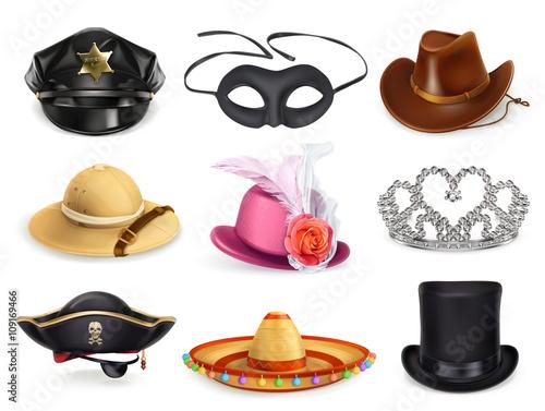 Fotografía  Hats set, collection of headgear, vector icons