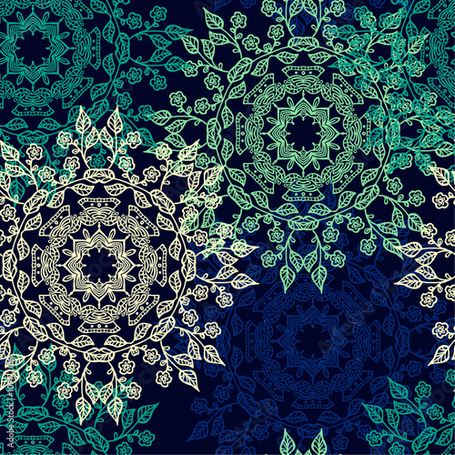 Seamless pattern with beautiful Mandalas. Vector illustration Wallpaper Mural