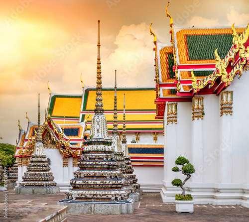 Foto op Plexiglas Japan Wat Pho Temple at sunset, in Bangkok, Thailand. Wat Pho known also as the Temple of the Reclining Buddha.