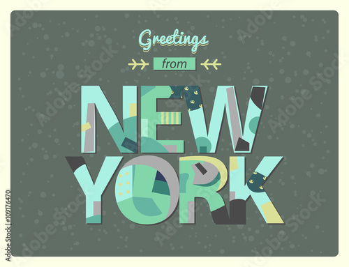 Greetings from new york lettering in modern cutout applique