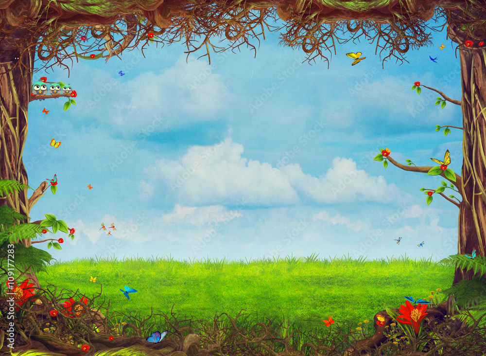 Beautiful woodland scene with trees , grass, butterflies   and clouds , illustration art