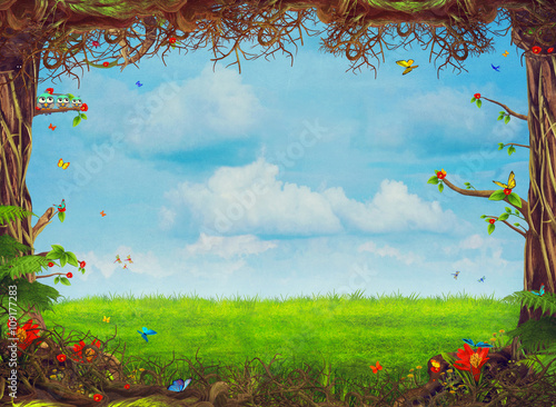 Valokuva  Beautiful woodland scene with trees , grass, butterflies   and clouds , illustra