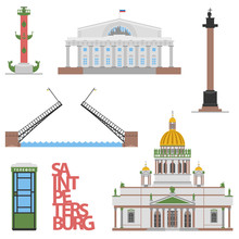 Saint-petersburg Symbols, Travel / Column, Bridge, Rostral Column, Telephone Box, St. Isaak Cathedrale
