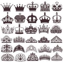 Illustration Set Of Silhouettes Of Vintage Crown