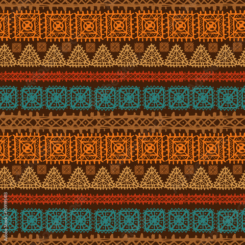 Fotografia  Tribal art ethnic, boho seamless pattern