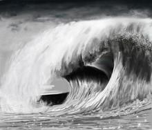 Vague Déferlante De Tempête En Noir Et Blanc évoquant La Submersion Ou Un Tsunamis