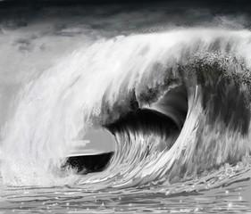 Obraz na PlexiVague déferlante de tempête en noir et blanc évoquant la submersion ou un tsunamis