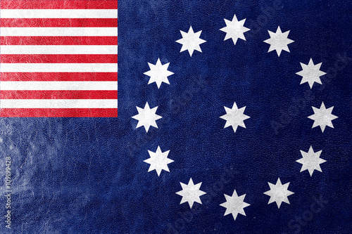 Fotografie, Obraz  Flag of Easton, Pennsylvania, painted on leather texture
