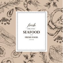 Vector Seafood Designer Template Set - Shrimp, Crab, Lobster, Salmon, Oyster, Mussel. Mediterranean Cuisine Sea Food Sketch