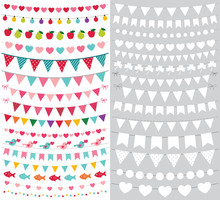 Birthday And Party Bunting Banners, Set With Blank Templates