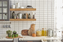 Modern White Kitchen With Chopping Board