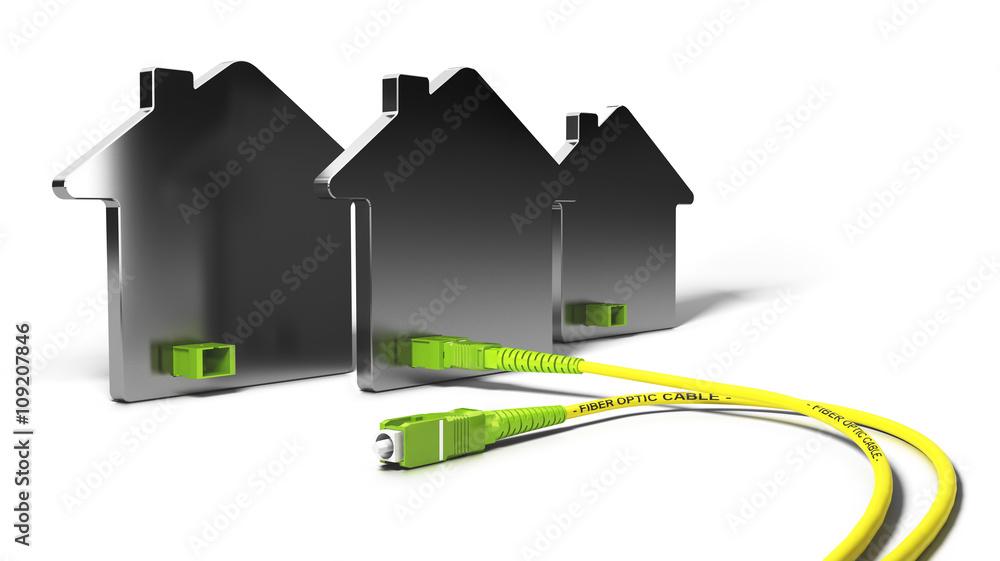 Fototapety, obrazy: FTTH, Fiber To The Home 3D Illustration