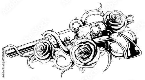 Fotografie, Obraz Vintage revolver with roses tattoo