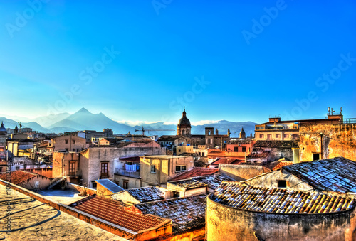 Aluminium Prints Palermo View of Palermo in HDR