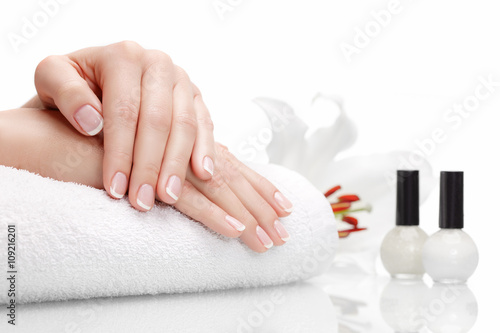 Deurstickers Manicure Beautiful hands with french manicure