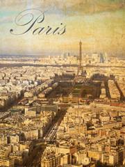 Fototapeta Paryż Postkarte mit einer Luftaufnahme der Stadt Paris im Vintage Look mit Schriftzug