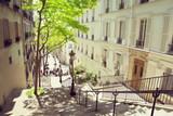 Fototapeta  - morning Montmartre staircase in Paris, France