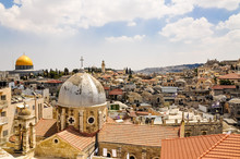 View Of Old City Of Jerusalem Against Cloudy Sky