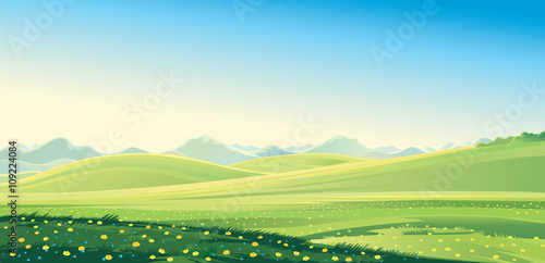 Foto op Plexiglas Pool Summer landscape. Summer mountain landscape, vector illustration. It can be used as background.