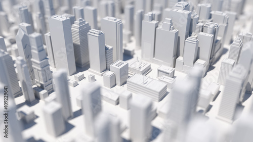 abstract city 3d rendering background with depth of field macro effect - 109229641