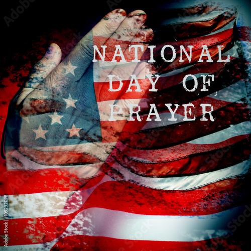 Obraz na plátně man praying and text national day of prayer