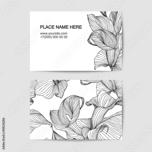 Canvas Print visit card template with calla lily for florist salon