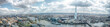 London Cityscape Skyline Wide Panorama. Famous Landmarks