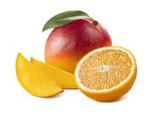 Mango Whole Slices Orange Half Isolated On White Background