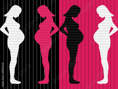 Photo  Pregnant woman silhouettes black pink background