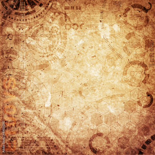 Steampunk technology grunge background, steam punk elements Poster Mural XXL