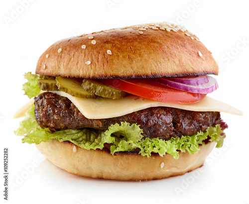 Fotografie, Tablou Cheeseburger on white background