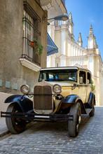 Antique American Car In Havana Pictured In Sepia