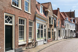 Street with row of historic houses in old town of Amersfoort in Utrecht province, Netherlands