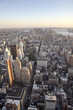 Aerial view of New York cityscape at sunset