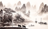 Chinese landscape watercolor painting - 109279607
