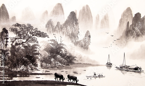 Fotobehang Wit Chinese landscape watercolor painting