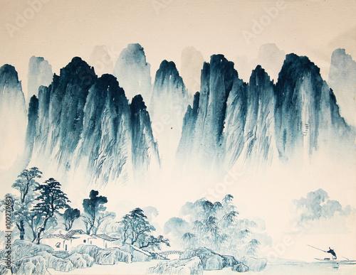 chinski-krajobraz-akwarela-malarstwo