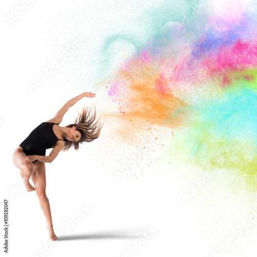Foto op Aluminium Dance School Dance with colored pigments