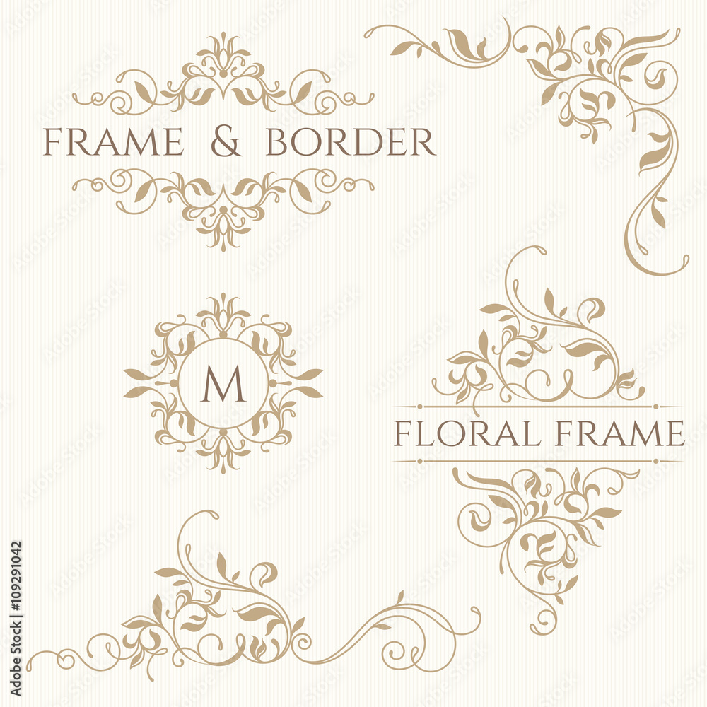 Fototapety, obrazy: Set of decorative  borders and monograms. Template signage, labe