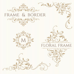 Set of decorative  borders and monograms. Template signage, labe