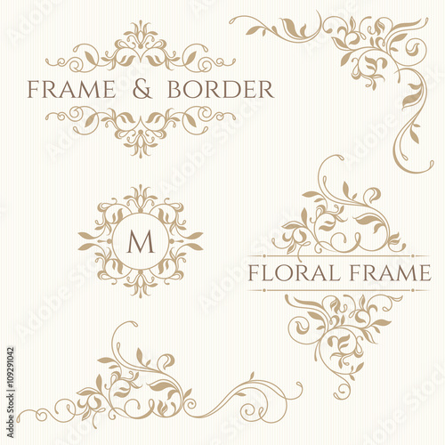Fotografía  Set of decorative  borders and monograms. Template signage, labe