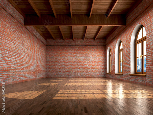 Obraz Empty room with rustic finishes of a residential interior or off - fototapety do salonu