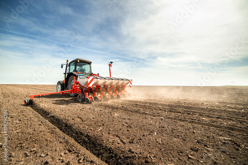 Valokuvatapetti seeding crops at field