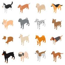Dog Icons Set, Isometric 3d St...