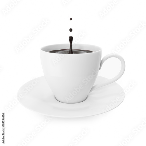 Deurstickers koffiebar Cup coffee with splash drops isolated on white background.