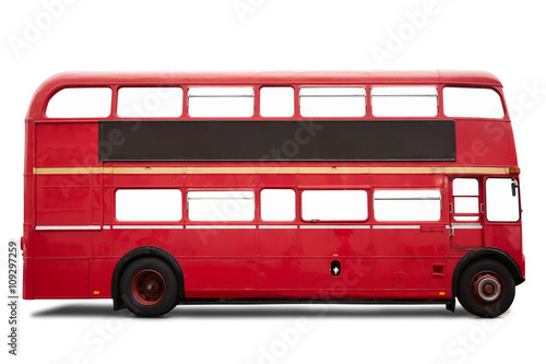 Fotobehang Londen rode bus Red London bus, double decker on white, clipping path