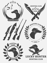 Set Of Hunting Retriever Logos, Labels And Badges. Dog, Duck, Weapons. Vector